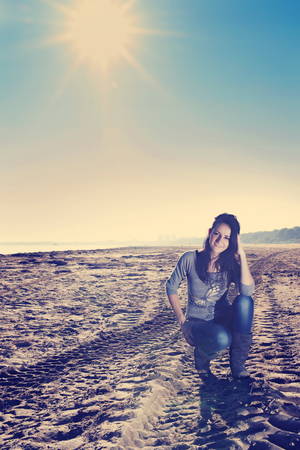 portrait of happy woman at the sea Stock Photo