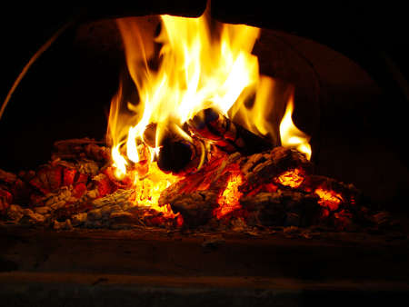 wood fire: fire on the oven