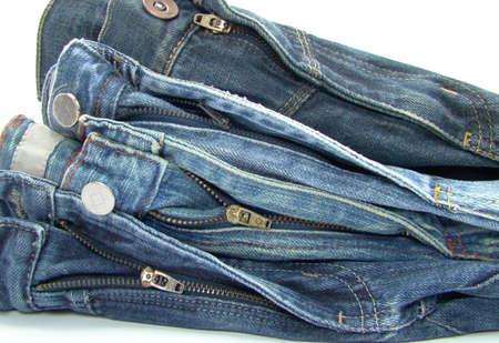 pile of blue jeans over white background Stock Photo - 5382023