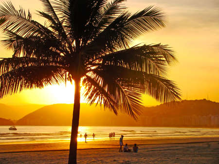 brazil beach: beautiful golden sunset on the beach of the city of santos in brazil