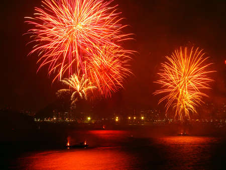 beautiful fireworks celebrating new year on the beach