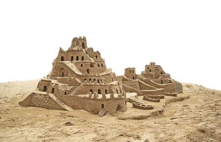 chateau de sable: Ch�teaux de sable sur la plage. Banque d'images
