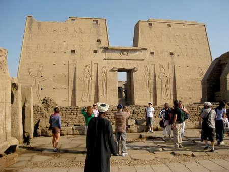 horus: EGYPT, Edfu - Tourists at the Temple of the god Horus.