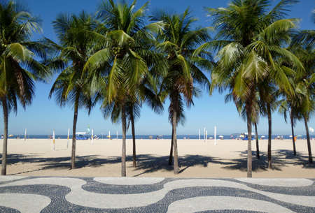 Copacabana beach view with mosaic sidewalk and palm trees