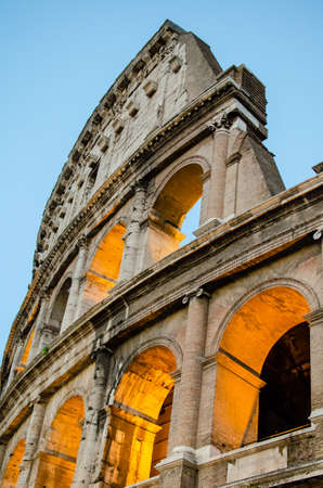 Colosseo s Detail at the evening  Colosseum  Roma, Rome  Italy  photo