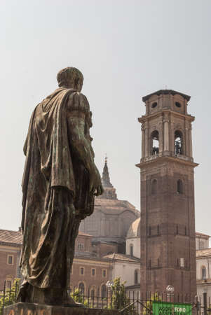palatine: Ceaser Statue Near Porte Palatine. Turin. Torino Italy
