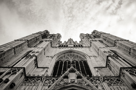 bruxelles: St. Michael cathedral in Bruxelles, Belgium, Europe - View from the ground in black and white