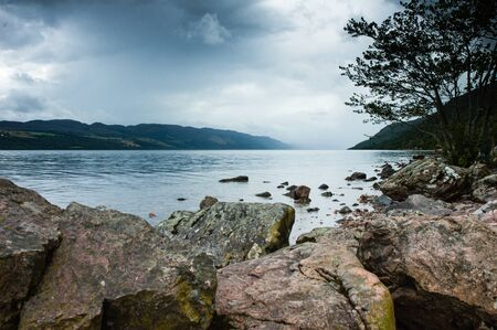 ness: View of Loch ness Lake in Scotland, cloudy day and dramatic light