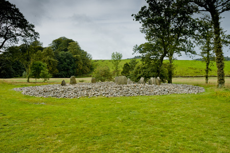 stone circle: View of Templewood Stone Circle, Kilmartin Glen, Scotland, in cloudy day