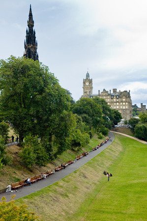 scot: View of Princes street garden, Edinburgh, Scotland, with Scot monument in background Editorial