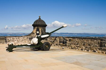 without people: Edinburgh castle cannon in sunny summer day without people