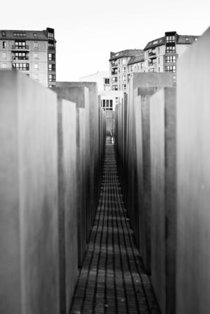 murdered: Berlin memorial to the Murdered Jews of Europe, Germany, black and white view Editorial