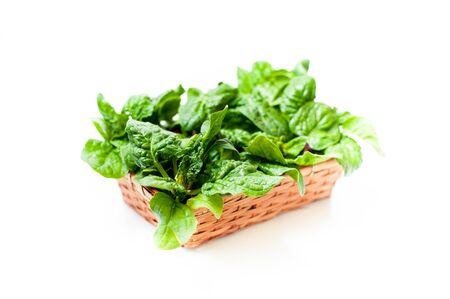differential focus: Brown basket with  green raw spinach leaves, close up differential focus on white background
