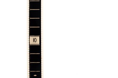 numero diez: Número diez de cuenta atrás película tira de película vertical y copyspace sobre fondo blanco Foto de archivo