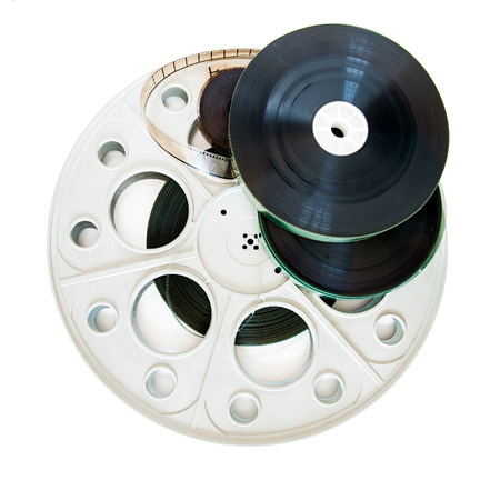 35mm: Different 35mm movie reels isolated on white background Stock Photo