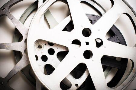 16mm: Movie film reels empty vintage effect on neutral background
