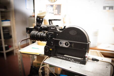 16mm: ROME, ITALY - APRIL 22nd 2015. Professional vintage Arriflex 16 mm camera in studio