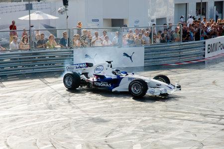 vettel: ROME, ITALY - JUNE 23 2007. Formula 1 Sauber Bmw with Sebastian Vettel driving racing test in Sauber Bmw Rome festival Editorial