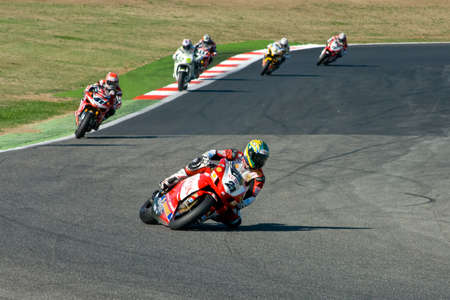 sports race: ROME, ITALY - SEPTEMBER 30 2007. Superbike championship, Vallelunga circuit. Troy Bayliss in action