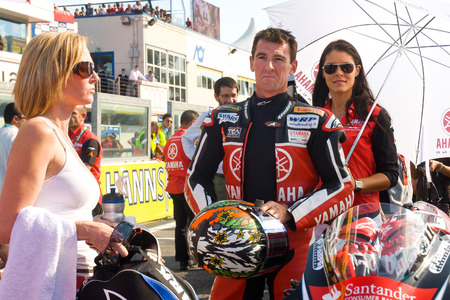 troy: ROME, ITALY - SEPTEMBER 30 2007. Superbike championship, Vallelunga circuit. Troy Corser on the grid waiting for race start Editorial