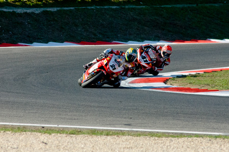 troy: ROME, ITALY - SEPTEMBER 30 2007. Superbike championship, Vallelunga circuit. Troy Bayliss and Noriyuki Haga in action