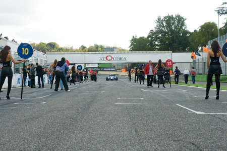 formula car: VALLELUNGA CIRCUIT, ROME, ITALY - NOVEMBER 2 2008. Superleague formula car on grid starting line
