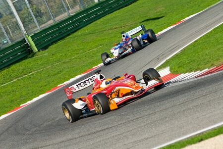 VALLELUNGA CIRCUIT, ROME, ITALY - NOVEMBER 2 2008. Superleague Formula, cars on track during race 1 Editorial