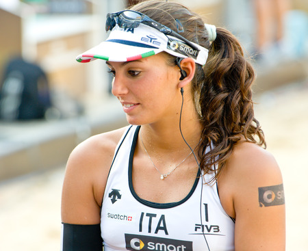world championships: ROME, ITALY - JUNE 15 2011. Beach volleyball world championships. Italian player Marta Menegatti portrait after the match Editorial