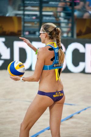 world championships: ROME, ITALY - JUNE 18 2011. Beach volleyball world championships. American woman player Kerri Walsh Jennings ready to play
