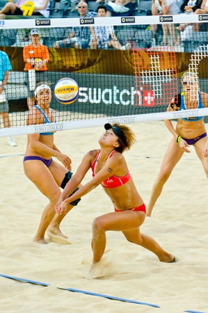 world championships: ROME, ITALY - JUNE 18 2011. Beach volleyball world championships. Chinese woman player Xue Chen in action during semifinal Editorial