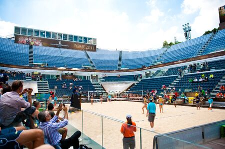 world championships: ROME, ITALY - JUNE 14 2011. Beach volleyball world championships. Panoramic view of stadium during a match