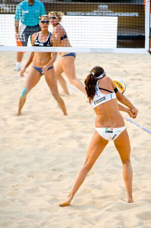 world championships: ROME, ITALY - JUNE 15 2011. Beach volleyball world championships. Italian player Marta Menegatti during Italy-Uk match