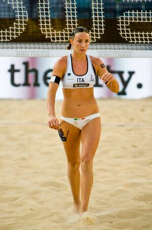 world championships: ROME, ITALY - JUNE 15 2011. Beach volleyball world championships. Italian player Greta Cicolari during a match