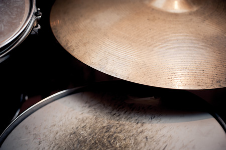 snare drum: Drums detail in studio, ride and snare drum parts in selective focus