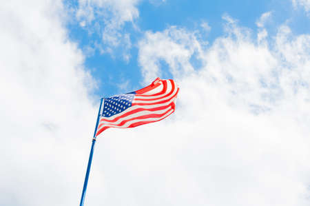 ��copy space �: Usa american flag in cloudy sky with copy space Stock Photo
