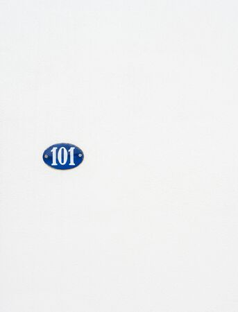 ��copy space �: Blue label with number 101 on white with copy space