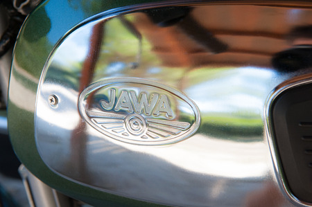 sidecar: Otranto, Italy - September 12 2015. Jawa 350 sidecar detail shiny and clean brand close up Editorial
