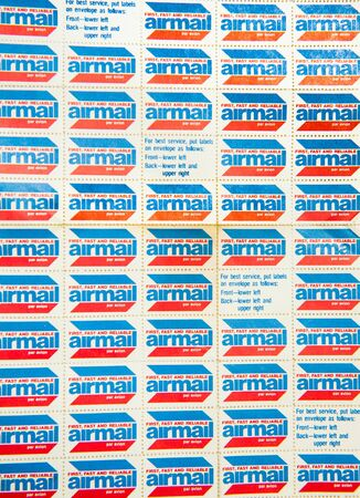 air mail: Page of old air mail stamps view from the top