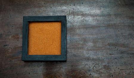 scraped: Zen garden base with orange sand on aged scraped wood
