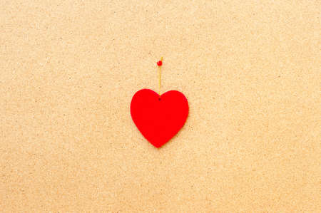 centered: Valentines day red heart centered pinned on wooden cork board Stock Photo