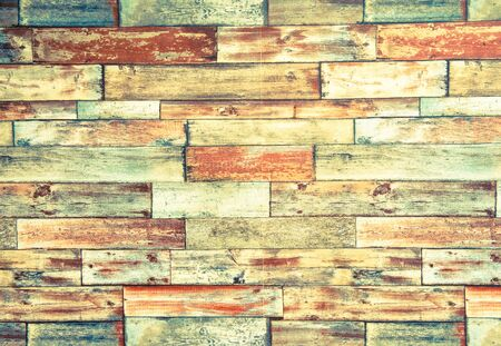 horizontal: Horizontal frame of psychedelic colorful brick wall background with red yellow green and acid colors