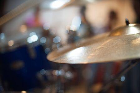 cymbal: Crash and ride cymbal detail golden metal drum part selective focus Stock Photo