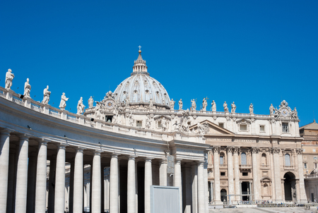 External view of San Pietro basilica in Rome, Vatican city, front and colonnade side in sunny clear day Stock Photo