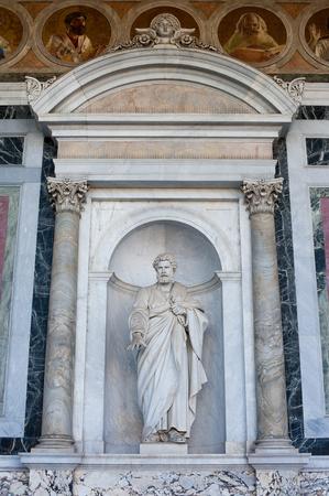 apostle paul: St Peter statue outside catholic church, facade of St Paul basilica in Rome