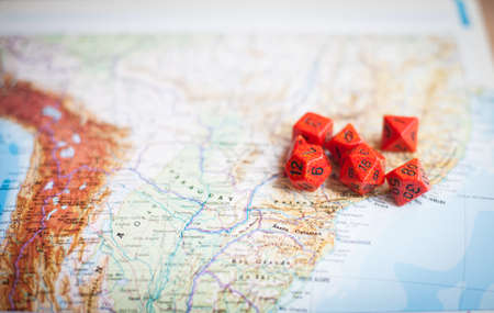 South America map with red special dice for war role playing game Stock Photo