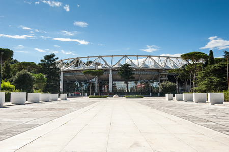 olympic stadium: Rome, Italy - August 6th 2016. Outside view of Olympic Stadium with white marble road entrance