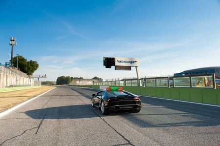 autos: Vallelunga, Rome, Italy. September 4th 2016. Black Lamborghini safety car on starting line track Editorial