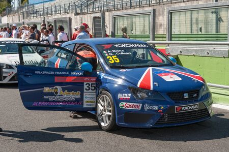autos: Vallelunga, Rome, Italy. September 4th 2016. Seat Ibiza italian Cup: driver Alessandra Brena in pit lane before race