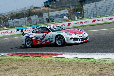 carrera: Vallelunga, Rome, Italy. September 10th 2016. Porsche Carrera Cup, car in action at turn during the race
