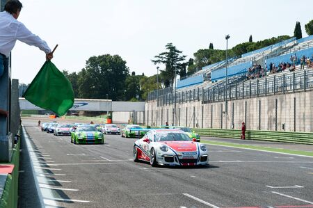 motorsport: Vallelunga, Rome, Italy. September 10th 2016. Porsche Carrera Cup, many cars moving from starting line before race